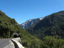 山路和隧道在优胜美地国家公园 库存图片