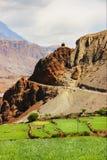 山路和绿色领域在山狼吞虎咽 尼泊尔 喜马拉雅山 `更低的野马`王国  迁徙在vi 免版税库存图片