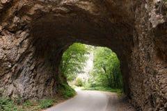 山路穿过一座石隧道塔拉山 免版税图库摄影