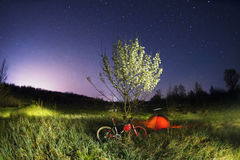 登山车在一棵开花的树下在晚上 免版税库存照片