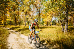 登山车骑自行车者骑马轨道晴天 免版税库存图片