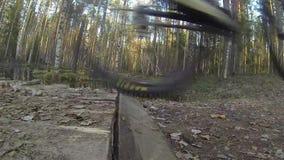 登山车骑马的骑自行车者在森林里在秋天,做从桥梁的小跃迁 特写镜头 股票视频