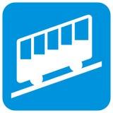 山铁路,客舱,空中览绳剪影在蓝色框架的 皇族释放例证
