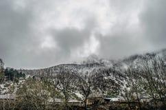 山雪与树的风景在Ilisu,加赫阿塞拜疆,大高加索的自然和雾 库存照片