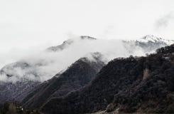 山雪与树的风景在Ilisu,加赫阿塞拜疆,大高加索的自然和雾 免版税库存图片