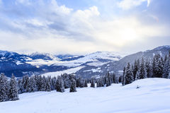 山雪冬天 滑雪胜地Laax 瑞士 免版税库存图片