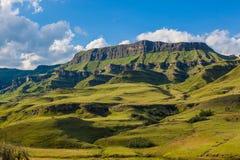 山青绿的夏天风景对比 库存图片