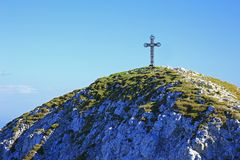 山顶十字架 图库摄影