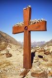 山顶十字架 免版税库存图片