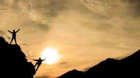 山顶成功和幸福 库存照片