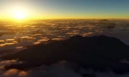 山顶日落 库存图片