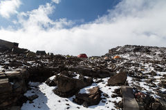 山顶的最后的露营地 免版税库存照片