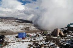 山顶的最后的露营地 免版税库存图片