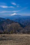 从山顶看见的富士山 库存照片