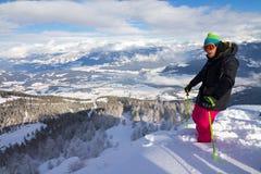 山顶滑雪 库存图片