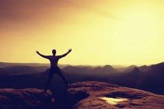 山顶achievemnt 黑色的远足者庆祝胜利 图库摄影