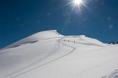 山顶Allalinhorn 免版税图库摄影