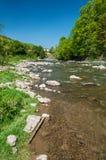 山风景、森林和快速的山河 与山河的美好的风景 库存照片