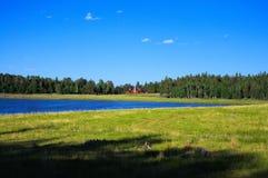山风景、湖和山脉,大全景 库存图片