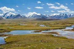 山风景。Arabel谷,吉尔吉斯斯坦 免版税库存图片