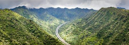 山风景全景夏威夷 免版税库存图片