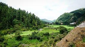 山风景在不丹 免版税库存图片