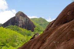 山风景在塞舌尔群岛在热带 库存照片