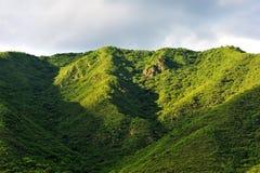 山风景在多云夏日 免版税库存照片