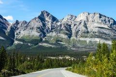 山风景在班夫国家公园 免版税库存图片