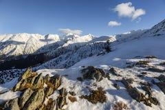 山风景在Fagaras山的冬天 库存图片