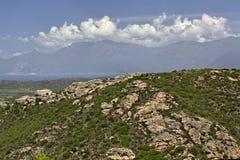 山风景沙漠des Agriates), Balagne,北可西嘉岛,法国 图库摄影