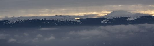 山风景的全景在俄罗斯的国立公园 免版税库存图片