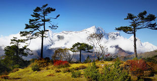 山风景风景秋天喜马拉雅山 免版税库存照片