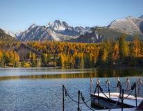 山风景风景,秋天颜色,湖 免版税库存照片
