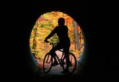 山骑自行车的人剪影 免版税库存照片