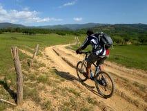 山骑自行车 库存照片