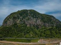 山鸟瞰图在济州海岛上的在韩国 库存图片