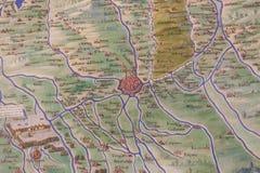 山麓古老地图和韦尔切利 库存图片