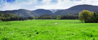 山麓小丘谷全景在秋天 撒克逊人 图库摄影