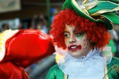 黑山,新海尔采格- 04/06/2016 :一个小丑的画象化妆舞会的 免版税图库摄影