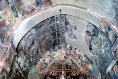 黑山,新海尔采格- 30/09/2015 :与老壁画的片段的天花板在Bles的做法的小教会里 免版税库存照片