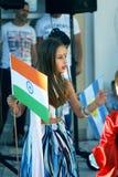 黑山,新海尔采格- 04/06/2016 :印地安莎丽服的女孩 免版税库存图片