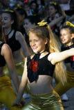 黑山,新海尔采格- 04/06/2016 :在舞蹈期间的笑的女孩 库存图片