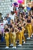 黑山,新海尔采格- 04/06/2016 :小组女小学生舞蹈家 图库摄影