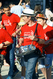 黑山,新海尔采格- 04/06/2016 :小组狂欢节的音乐家 免版税库存图片