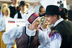 黑山,新海尔采格- 28/05/2016 :民间舞表现从斯洛文尼亚民间小组Iskraemeco的 库存照片