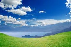 山,海,天空 免版税库存照片