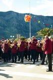 黑山,科托尔- 03/13/2016 :村庄Djenovici的乐队狂欢节的 免版税库存照片
