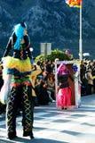 黑山,科托尔- 03/13/2016 :狂欢节小组玩偶的女孩 免版税库存照片