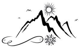 山,远足者 免版税库存照片